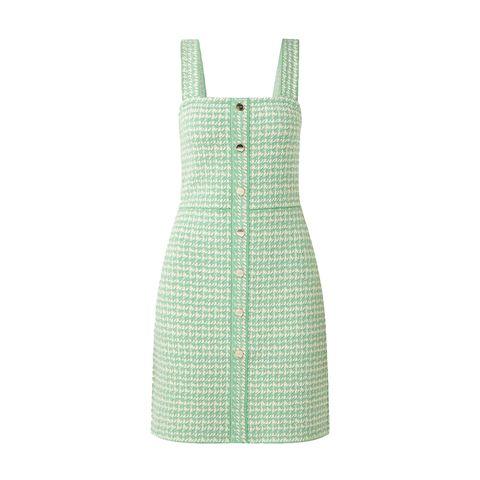 mini jurk van tweed met sierknopen