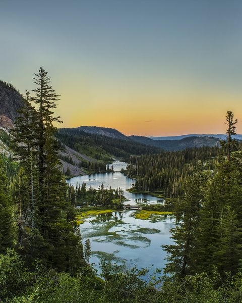 Twin Lakes at sunset, Mammoth Lakes, California, USA