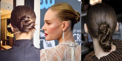 Hair, Hairstyle, Chignon, Bun, Beauty, Long hair, Chin, Neck, Brown hair, Ear,