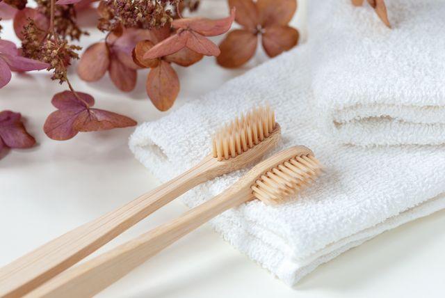 竹の歯ブラシとオーガニックイメージ
