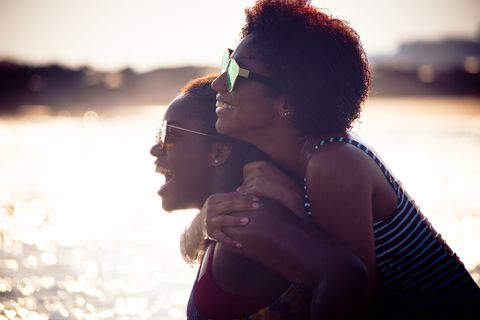 Two black women at the beach together.