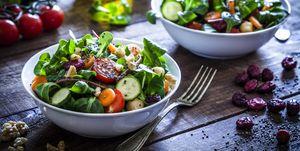 Two fresh salad bowls