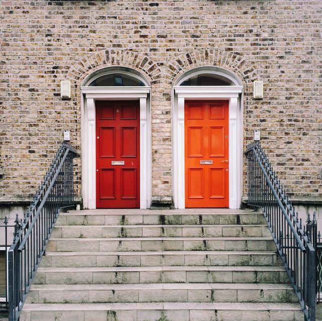 Two identical red doors in Dublin, Ireland
