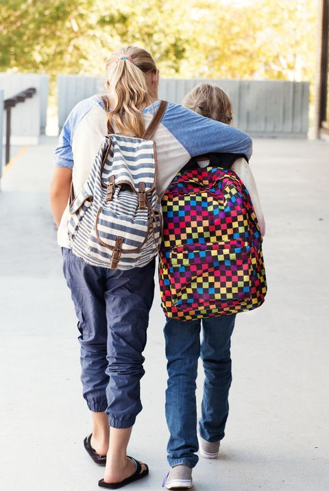 Two littles girls at school