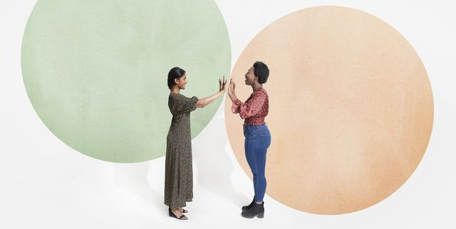 two people meeting in bubble