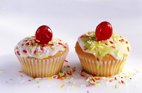 Two Queens cakes with cherries and icing