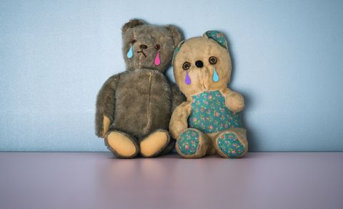 Two sad teddy bears
