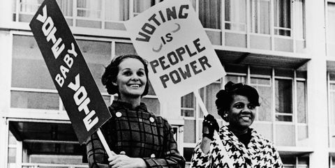 pro voting female demonstrators