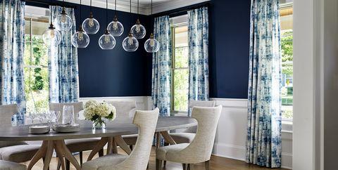 Room, Interior design, Dining room, Furniture, Property, Curtain, Floor, Ceiling, Building, Window treatment,