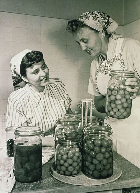 Two Women Canning Fruit in the 1950s