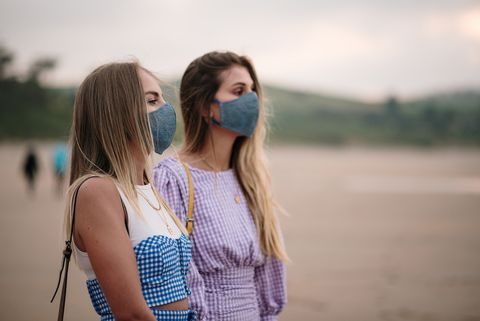 two young women wearing protective face masks at the beach