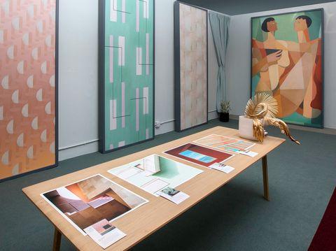 Furniture, Room, Interior design, Turquoise, Table, Architecture, Floor, Building, Flooring, House,