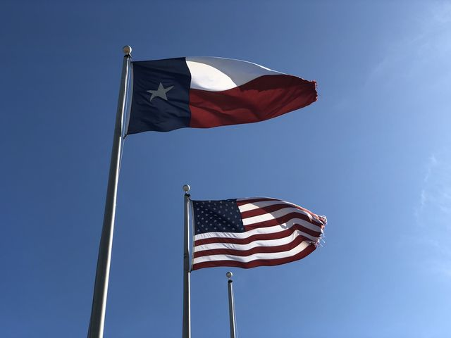 flags of the united states of america and the texas state flag waving in the skies