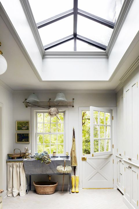 mudroom with skylights