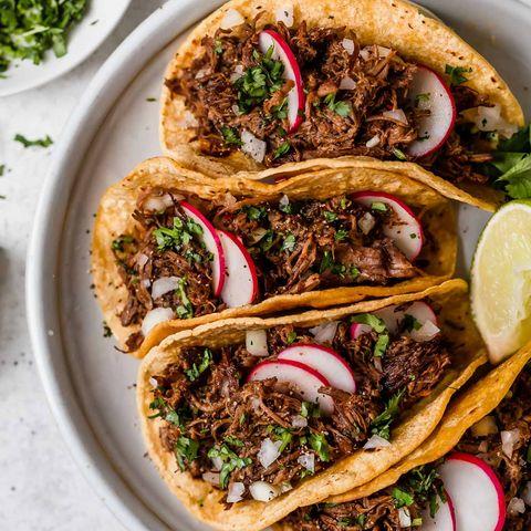 barbacoa tacos with radishes