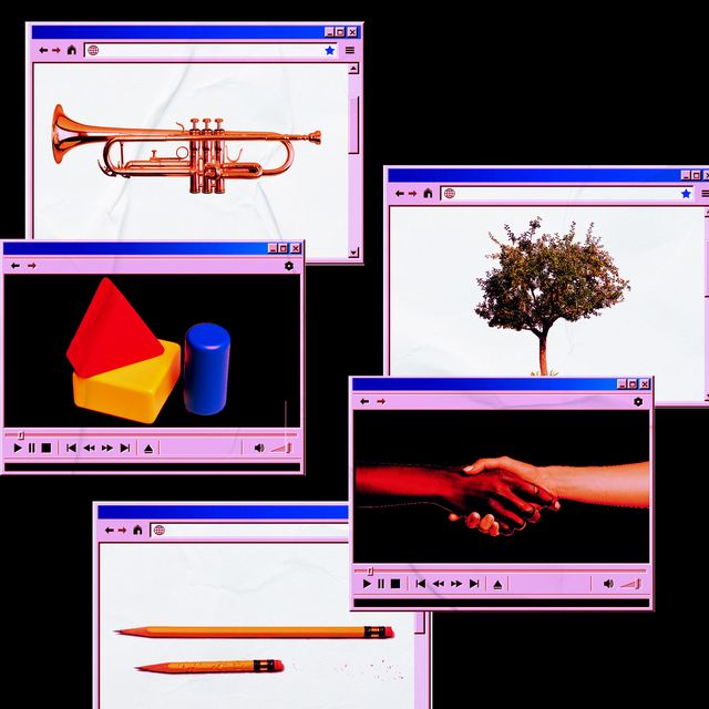 saxophone tree holding hands pencils shapes