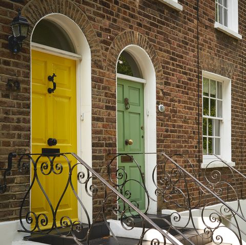 Typical coloured entrance door of a Georgian Terrace in a residential area in London.
