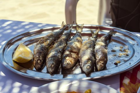typical dish of the costa del sol, in estepona, málaga, andalucia, spain  grilled sardines  it's called espeto