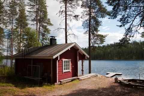 Typical Lakeside Sauna in Finland