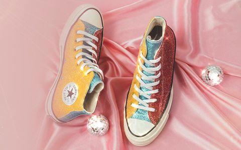 Footwear, Shoe, Sneakers, Yellow, Pink, Plimsoll shoe, Athletic shoe, Walking shoe, Outdoor shoe,