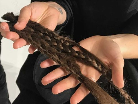 Hair, Hairstyle, Long hair, Hand, Finger, Black hair, Claw, Nail, Hair coloring, Braid,