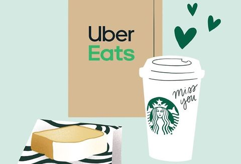 uber eats starbucks send a cup