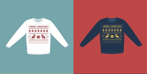a79a797f5dd6 Ugly Christmas sweaters or jumpers with pixel deers icons set