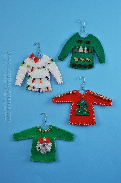 diy christmas ornaments ugly christmas sweater ornaments