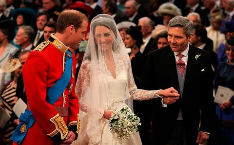 london, england   april 29  prince william, catherine middleton and michael middleton at the royal wedding of prince william and catherine middleton at westminster abbey on april 29, 2011 in london, england  photo by rota anwar husseingetty images