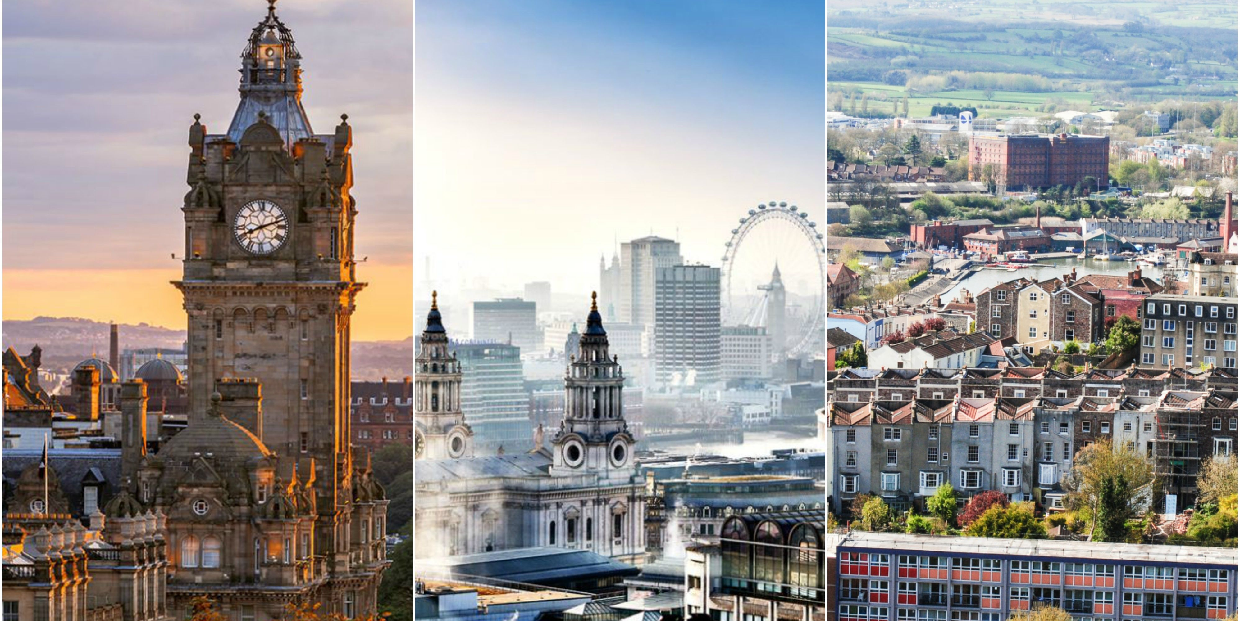 UK cities - Edinburgh, London, Bristol