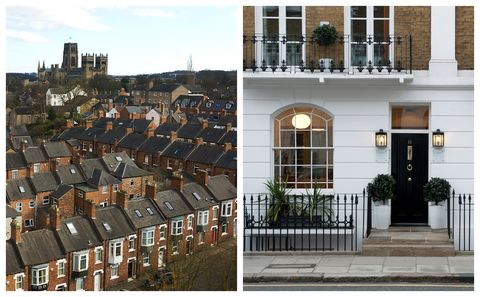 Cheapest and most expensive UK property - County Durham and Kensington in London