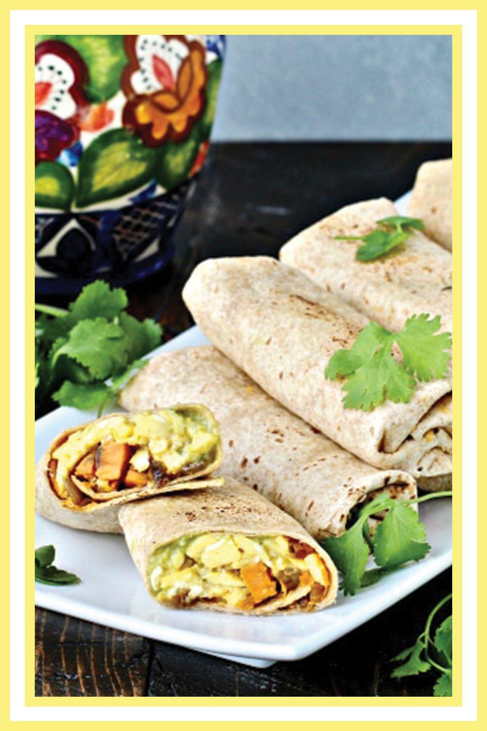 ultimate breakfast burrito with sweet potato hash