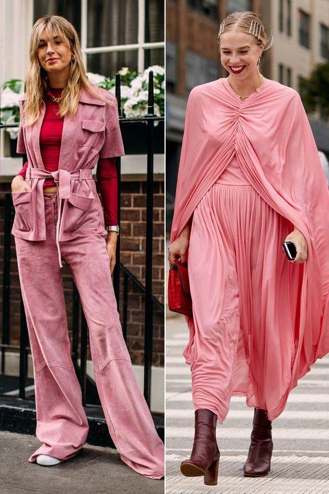 Clothing, Pink, Fashion model, Fashion, Street fashion, Outerwear, Magenta, Footwear, Dress, Leg,