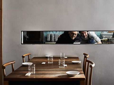 Room, Table, Furniture, Wall, Interior design, Coffee table, Material property, Restaurant, Photography, Rectangle,