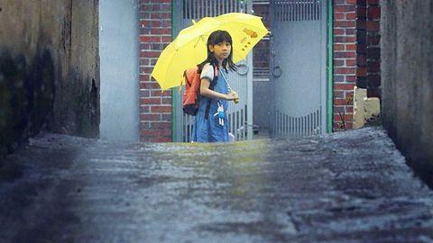 Umbrella, Rain, Yellow, Fashion accessory, Precipitation, Outerwear, Raincoat, Street,