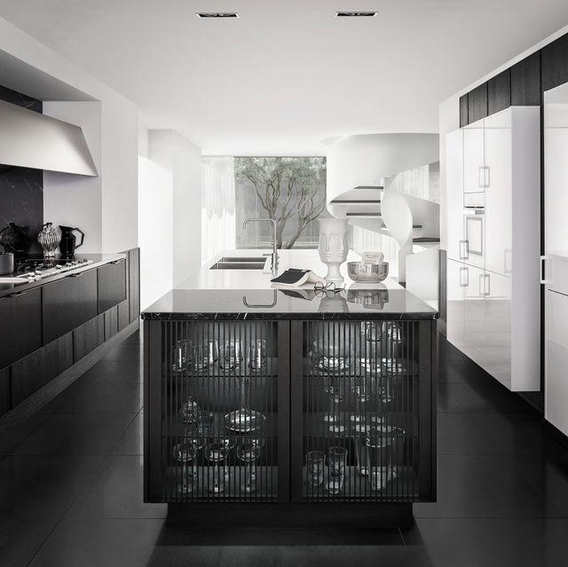 cocina de diseño en blanco y negro con isla central