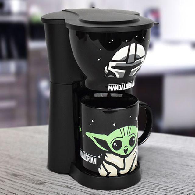 uncanny brands 'star wars the mandalorian' baby yoda coffee maker and mug