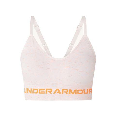 under armour naadloze sport bh light support uitneembare vulling roze oranje