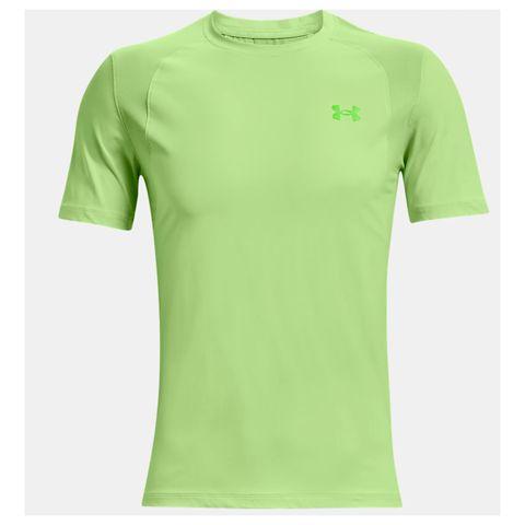 men's ua isochill run short sleeve geel neon sportshirt heren mannen sportkleding shirt
