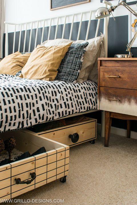 under bed storage ideas - wooden boxes