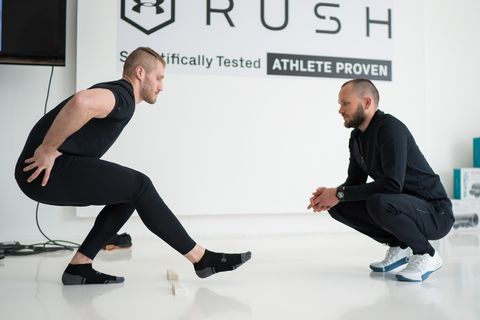 Arm, Leg, Sitting, Joint, Physical fitness, Knee, Training, Shoe,
