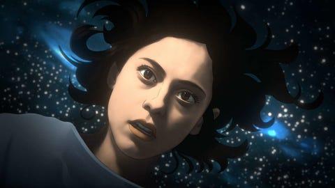 face, cg artwork, illustration, beauty, eye, black hair, darkness, space, art, animation,