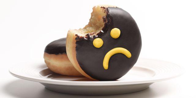 unhealthy doughnut on plate