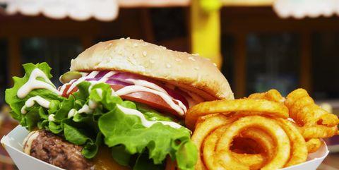 Dish, Food, Cuisine, Ingredient, Hamburger, Fast food, Junk food, Produce, Whopper, Fried food,