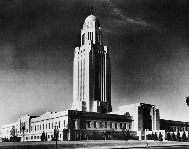 the nebraska state capitol building bertram grosvenor  goodhue, 1932 as seen from the street, lincoln, nebraska, 1930s the statue on the top of the tower dome is called 'the sower' and represents nebraska's great agricultural bounty and tradition nebraska is the only state in the union to have a unicameral legislature photo by bert soibelmanfrederic lewisgetty images