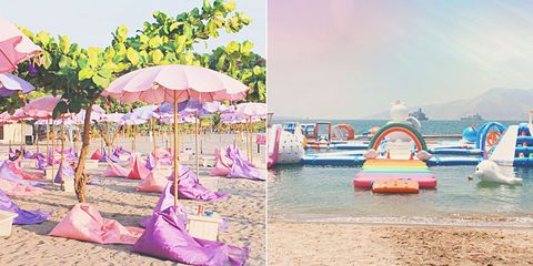 Umbrella, Pink, Summer, Beach, Vacation, Leisure, Fun, Fashion accessory, Sea, Sand,