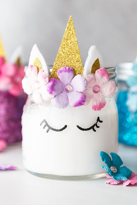 unicorn mason jars - unicorn party ideas