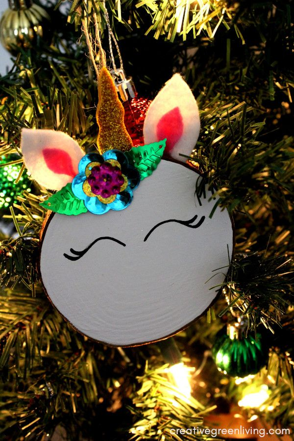 unicorn ornaments glitter