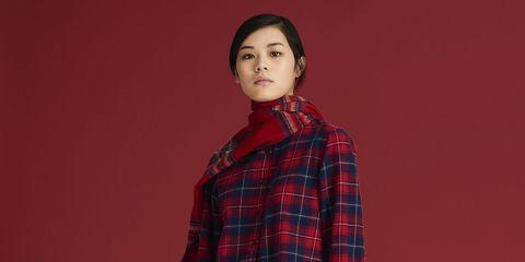Plaid, Tartan, Pattern, Red, Textile, Design, Fashion, Outerwear, Photography, Portrait,