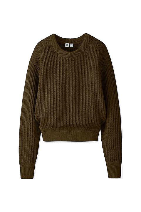 Clothing, Outerwear, Sleeve, Sweater, Jersey, Khaki, Brown, Beige, Top, Crop top,